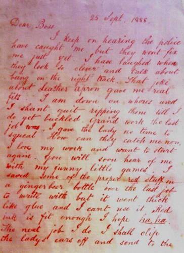 28-го сентября 1888 года пришло письмо Джека-потрошителя