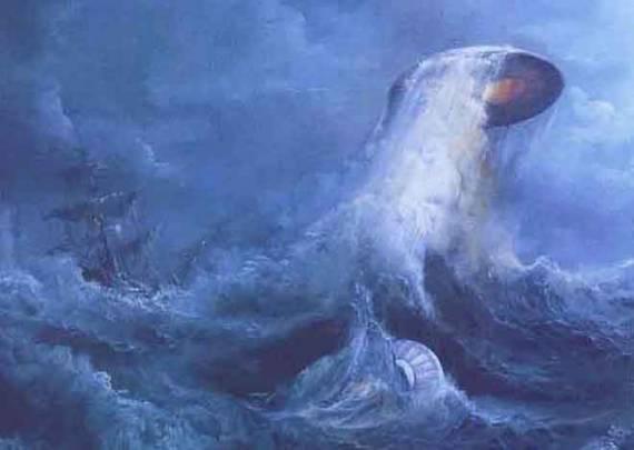 НЛО вылетает из штормового моря