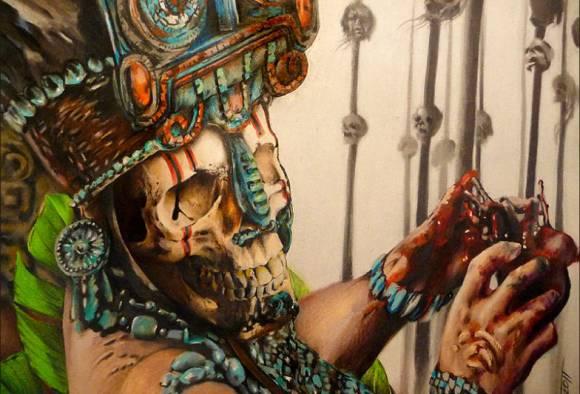 Жрец майя держит окровавленное сердце