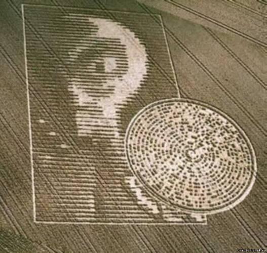 Инопланетянин с зашифрованным диском, изображённый на поле