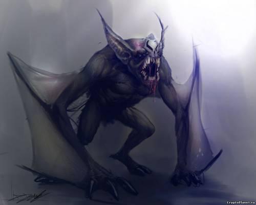 Существо, напоминающее кому человека, а кому - летучую мышь