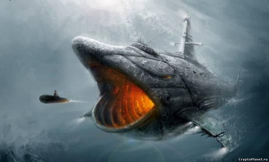 Ужасный подводный корабль заглатывает субмарину