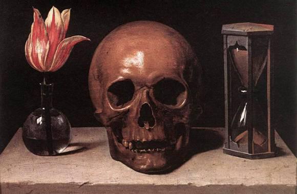 Пестроцветный тюльпан, череп и песочные часы на каменной плите
