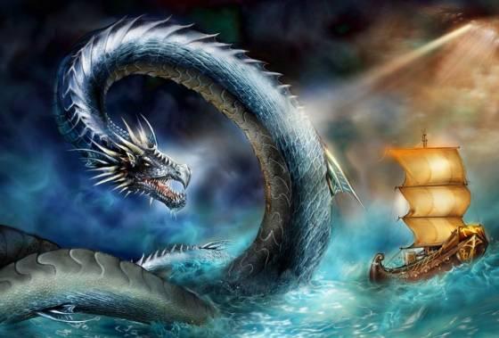 Великий морской змей нападает на корабль