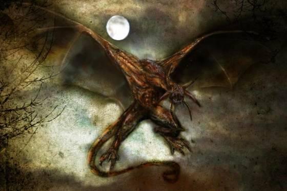 Крылатый демон в ночи