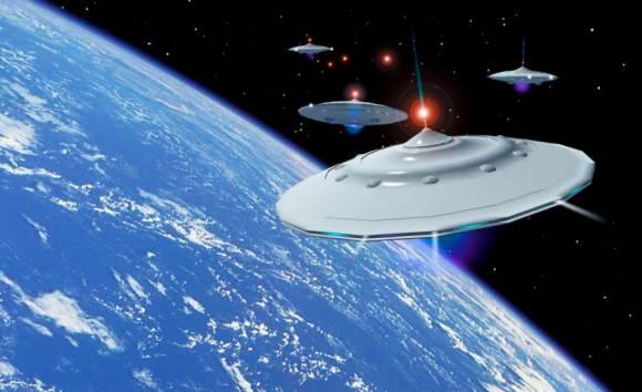 Флотилия летающих тарелок вторгается в атмосферу Земли