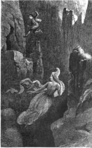 Мужчина прыгает в пропасть за эльфийкой