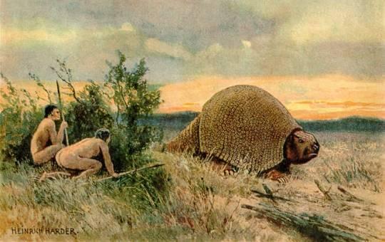 Аборигены наблюдают из кустов за глиптодоном. Картина Генриха Хардера