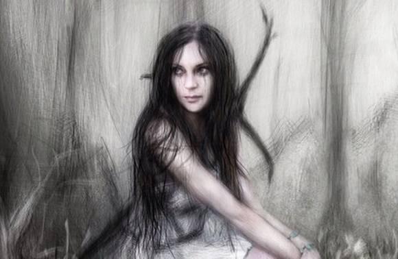 Рисунок девушки в лесу