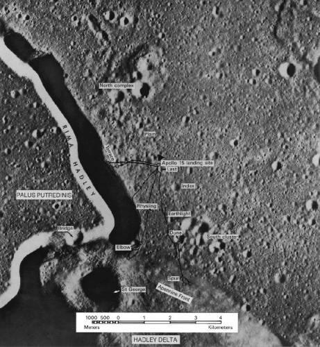Карта показывает место посадки Аполлона-15