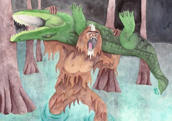 Скунсовая обезьяна побеждает аллигатора